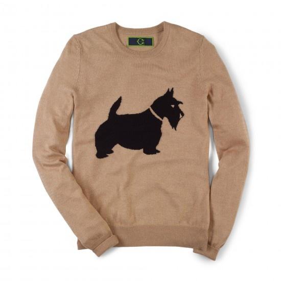 Women's Sweaters - Long Sleeve Scottie Dog Intarsia Sweater