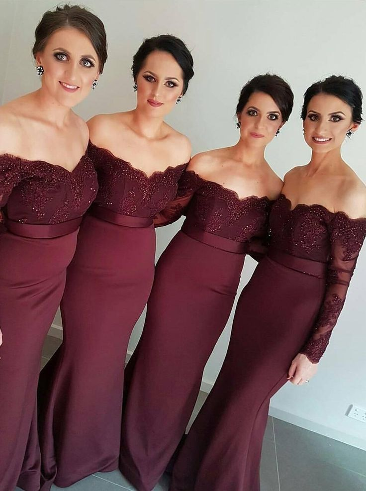 New Arrival Off-the-Shoulder Wine Red Trumpet/Mermaid Bridesmaid Dress More