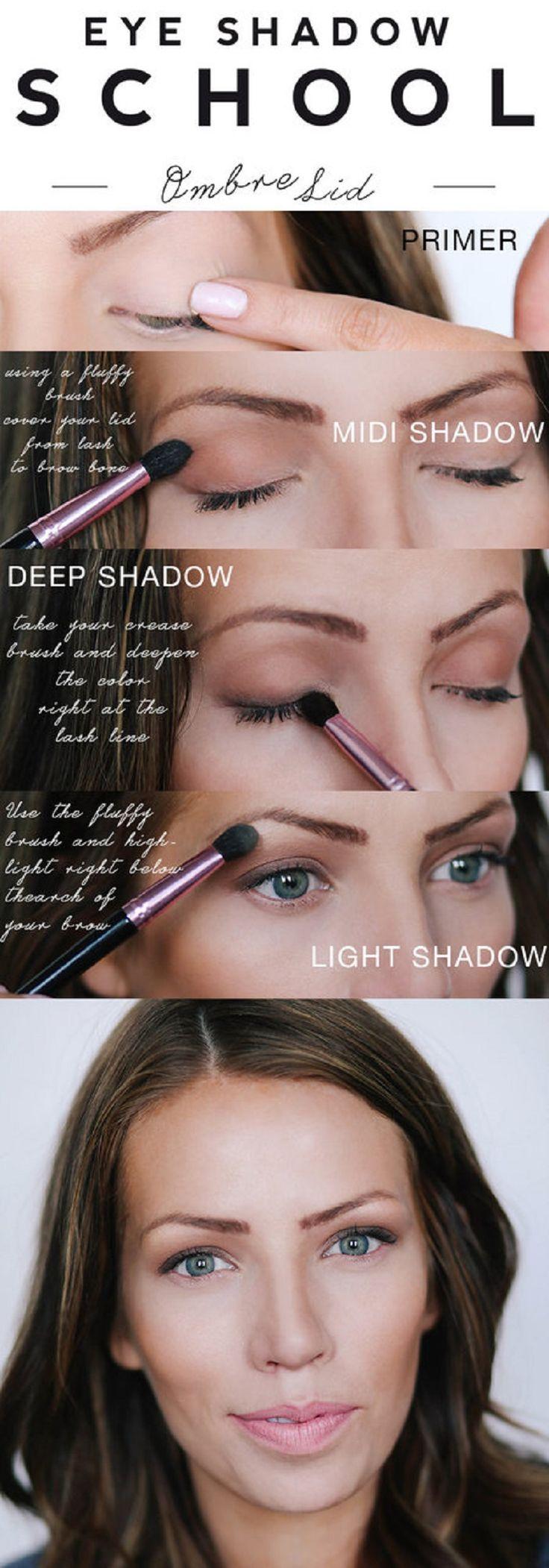 This ombre lid Eye Makeup Tutorial - 12 Easy No Makeup, Makeup Look Tutorials | GleamItUp