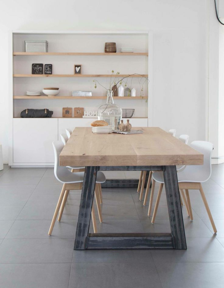 Love this table with it's blue steel legs.