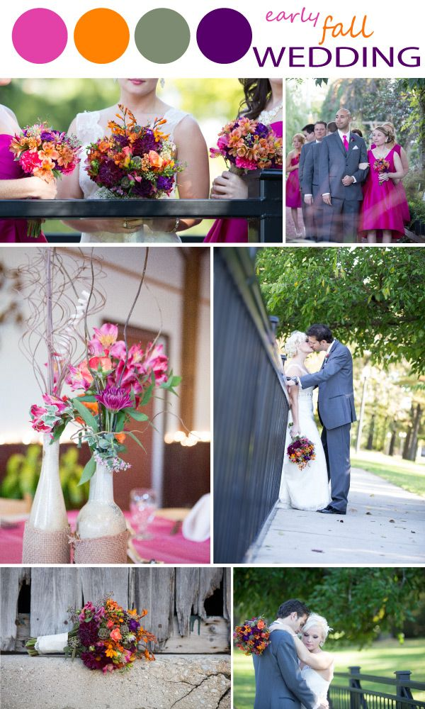 bright fall color palette with orange pink purple and mossy green perfect - Fall Colors For A Wedding