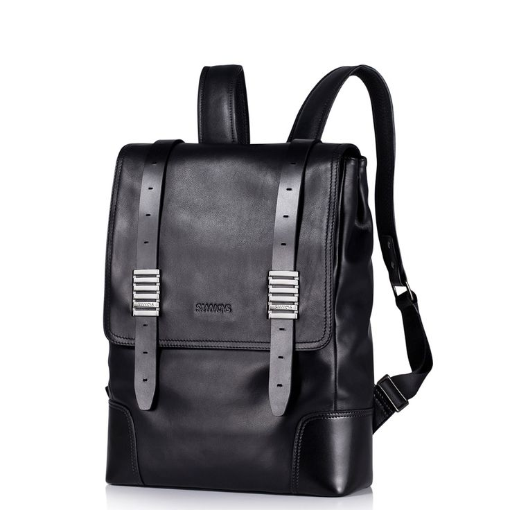 New Classic Men's Black Genuine Full Grain Leather Travel Backpack Casual Daypack Fashion Trend Rucksack School Book Bag