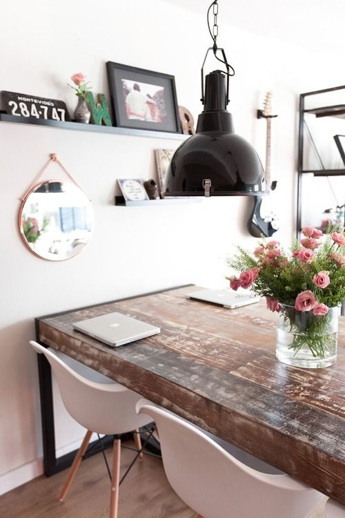 rustic table + modern chairs + industrial lamp --- love this combo for the dining room