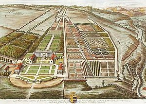 Lowther Hall in the early 18th century. The gardens storey begins in the 1690's when Sir John Lowther laid out massive elaborate gardens in the French baroque style which was fashionable at the time, Sir John's garden was full of fruit and vegetables, Sir John was one of a very rare breed at the time – he was a vegetarian.