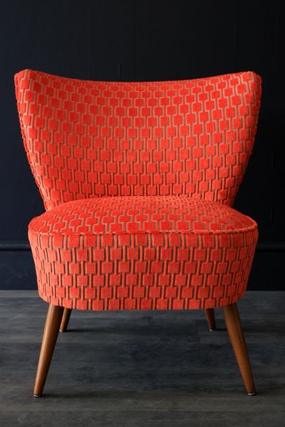 Fauteuil velours orange 1950 vintage Bartholomew