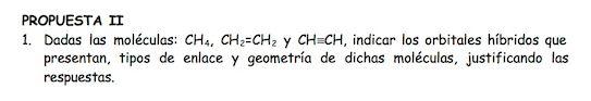 Ejercicio 1, propuesta 2, JUNIO 1996. Examen PAU de Química de Canarias. Tema: geometría molecular.
