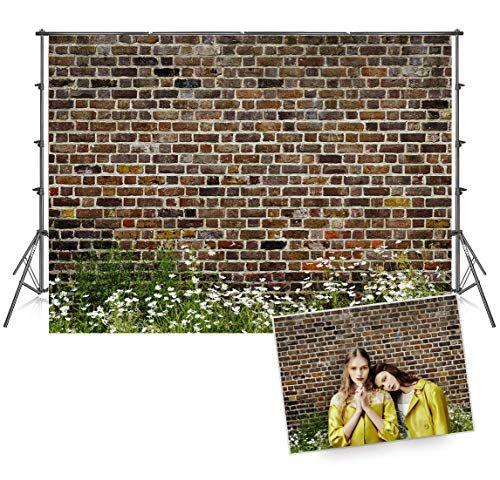 7x5 Ft Seamless Photo Backdrops Vintage Dark Brick Wall Photography Backdrop Grass White Flowers Background Free Brick Wall Backdrop Photo Backdrop Brick Wall