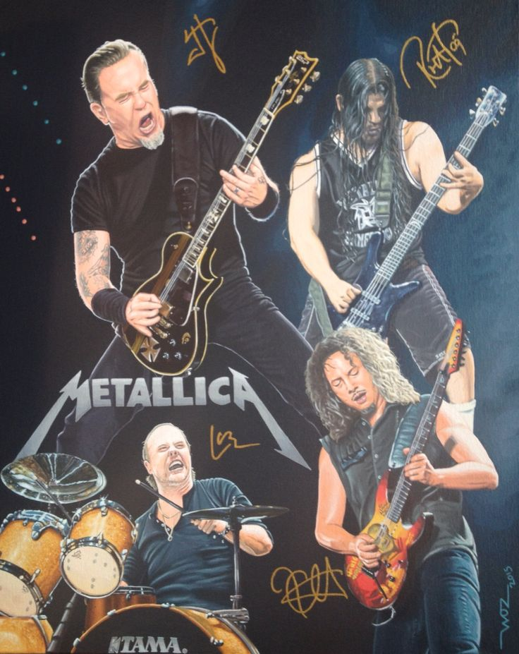 METALLICA Artist WOZ fine art painting 'Metallica' acrylic on canvas 16x20 inch.