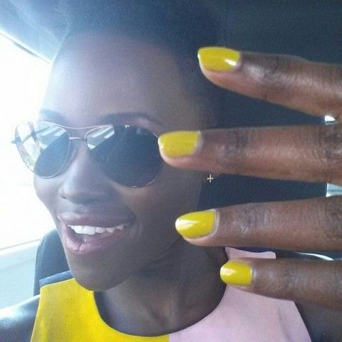 Nail Polish For Black Women American Hands Nails Lupita Nyongo Rocking Neon Yellow