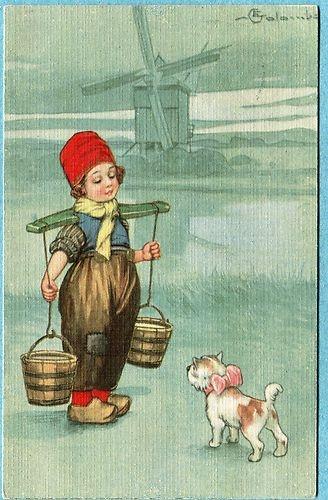 Hollandse  Boy Dog  twee emmertjes water halen met op de achter grond een windmolen                                      lb xxx.