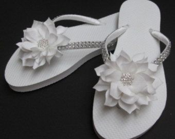 Aqua wedding shoes. Bridal flip flops. by AdrianaSantosBridal