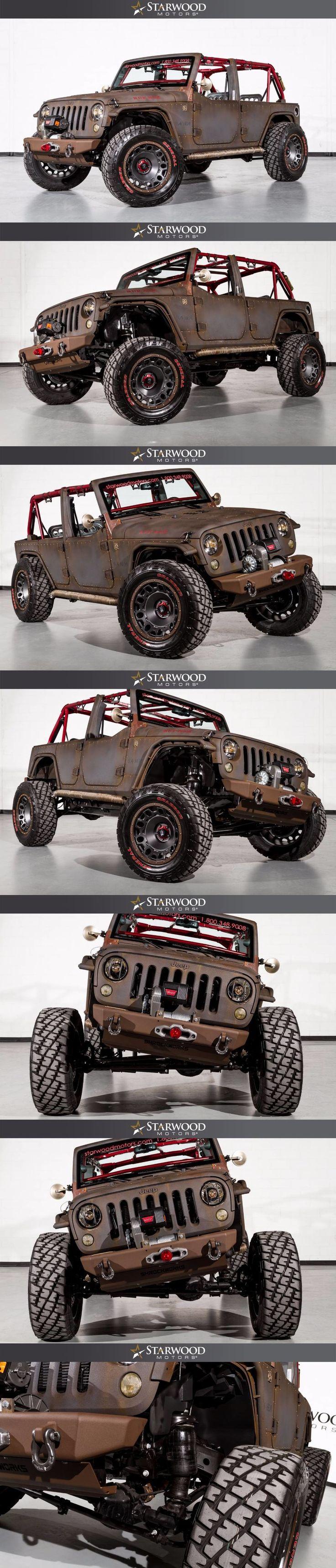 Starwood Motors WWII-themed Ruf-Nek 2015 SEMA Custom Jeep Wrangler with 6.4-Liter HEMI V8 conversion  #starwoodmotors #Jeep #JeepWrangler #RufNek #SEMA #JeepMods #CustomJeep #JeepLife #oIIIIIIIo