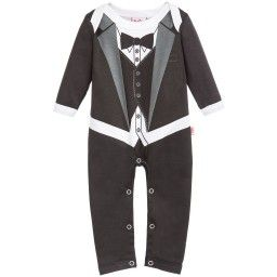 Such a clever design from Dijjie, this fun romper has been created to look like a smart tuxedo suit complete with tails, waistcoat and bow tie. With an envelope neck and poppers on the legs, it is lightweight and easy to wear.
