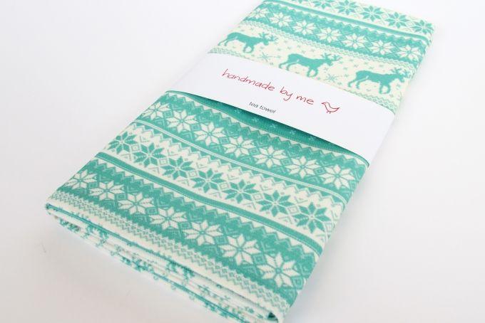 Winter Jumper Tea Towel in mint green by handmade by me