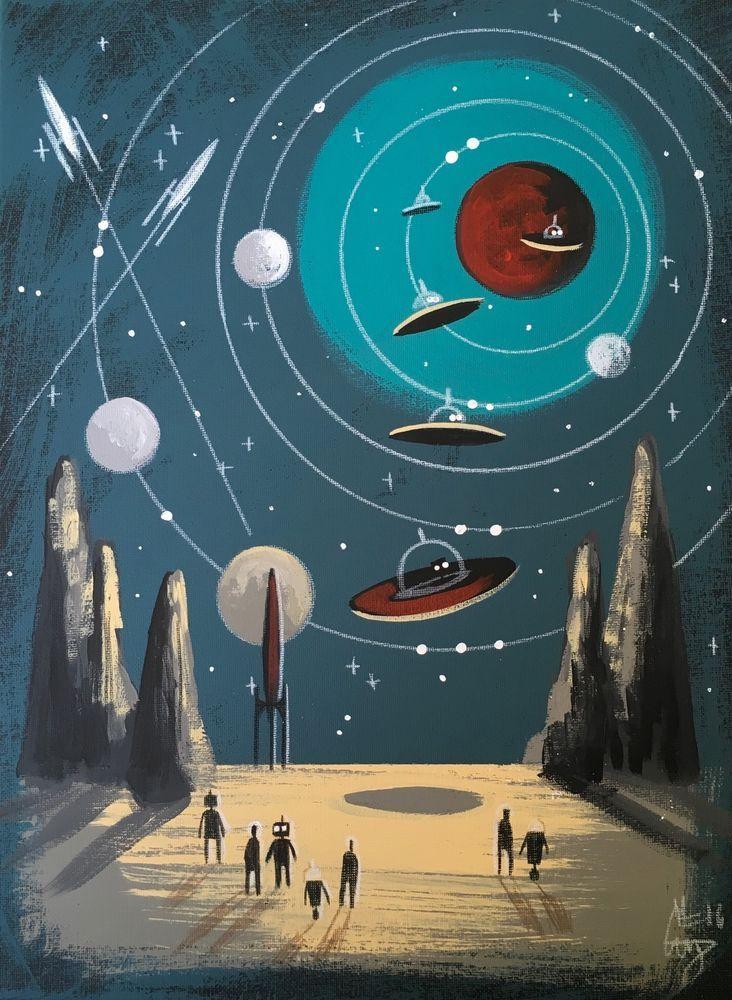 El gato gomez painting retro 1960 039 s vintage sci fi for Vintage outer space decor