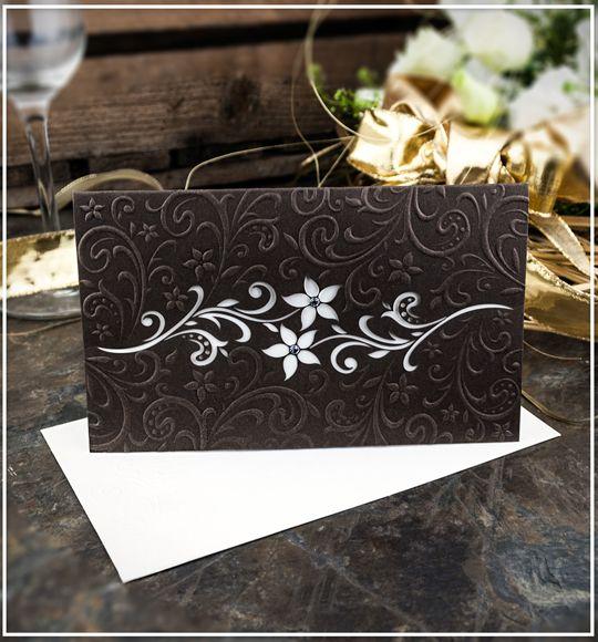 Čokoládově hnědé svatební oznámení s motivem květin - G910 : svatební oznámení