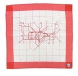 """`Red Road Arteries` Silk Scarf by Susan Stockwell. """"Red road arteries is based on an old bus map of South London where I live and work, relating to my daily journeys and personal memories –it's my history, yet also universal and recognisable.  The road arteries resemble the inside of the human anatomy, the veins and arteries of our bodies, to be worn on the outside on a beautiful, soft, seductive silk. Turning the inside out and outside in, of our private and public selves."""" -Susan…"""