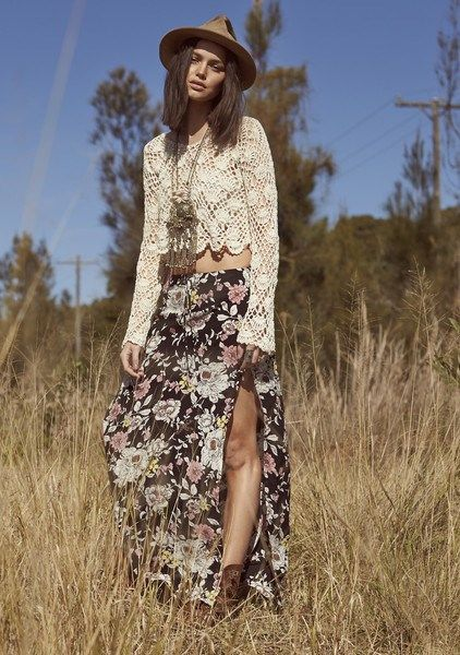 Auguste Split Maxi Skirt in NIGHT BLOOM | ARCHFASHION