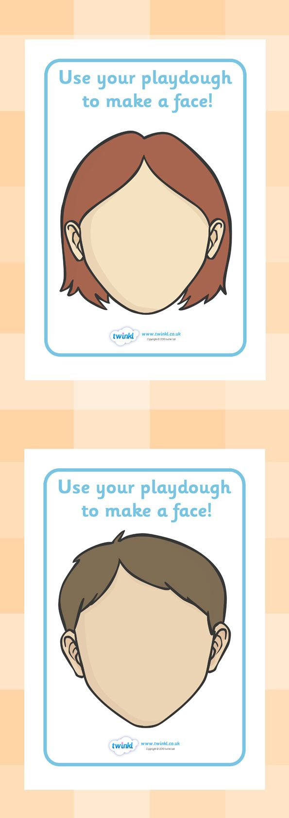 Twinkl Resources >> Faces Playdough Mats >> Classroom printables for Pre-School, Kindergarten, Elementary School and beyond! Topics, Ourselves, Playdough