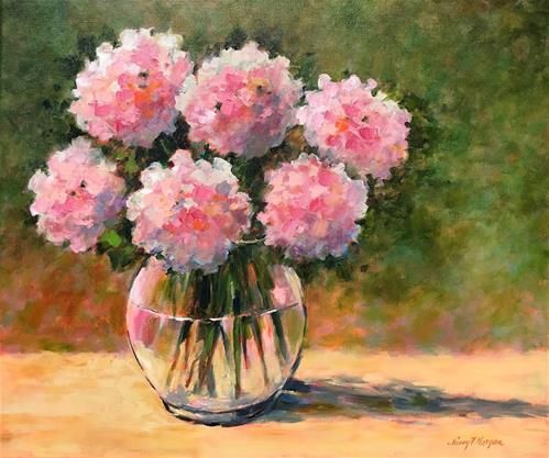 "Daily Paintworks - ""Hydrangeas for Heather"" - Original Fine Art for Sale - © Nancy F. Morgan"