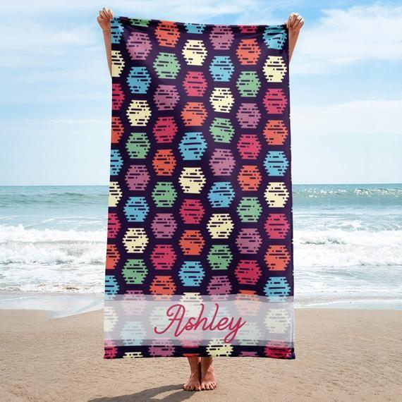 Personalized Hexagons Beach Towel Custom Bridesmaid Gift Wedding