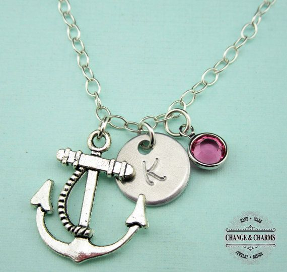 55 best custom sterling silver charm necklaces images on pinterest custom initial birthstone anchor necklace crystal birthstone necklace initial necklace charm necklace sterling silver ctr002 aloadofball Images
