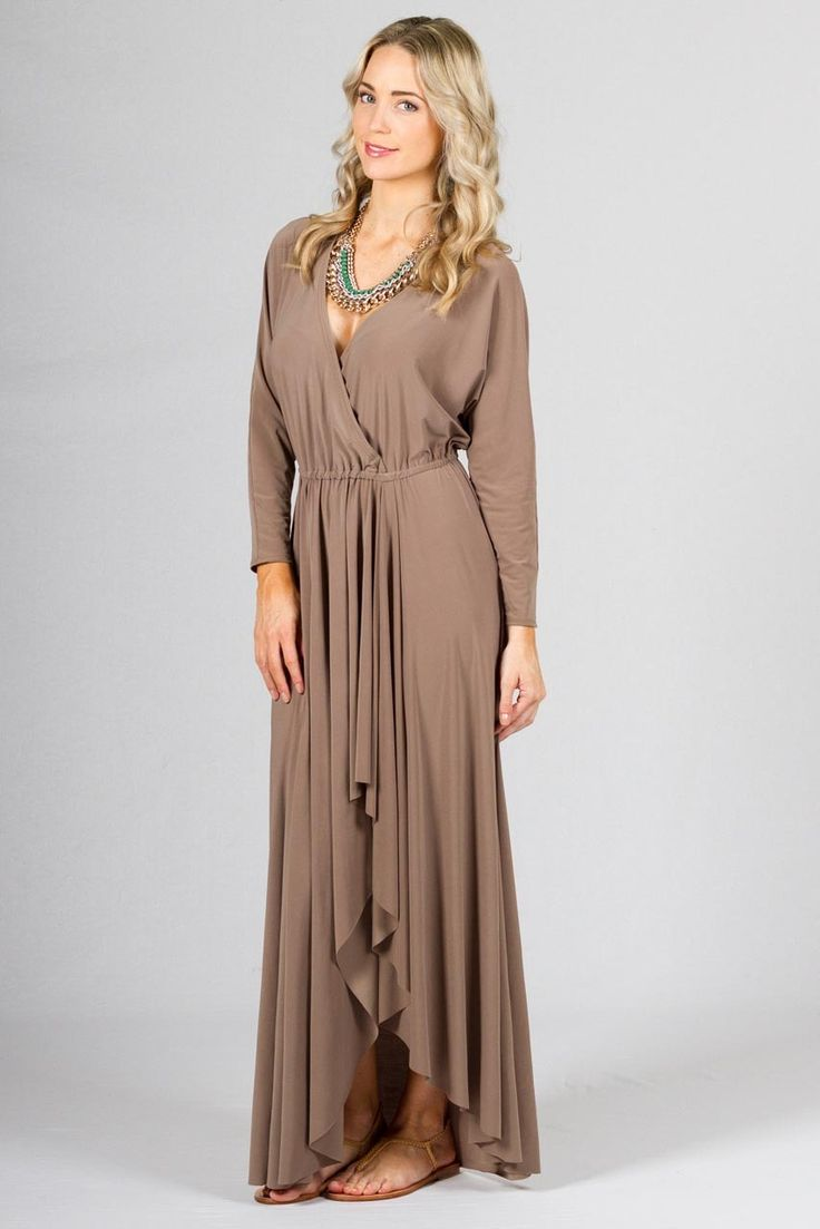 """Paper Scissors Frock Harlow Maxi Dress Online - Latte. Flattering V-Neck, elasticised at waist with a full ruffle style skirt.  This frock would also look great belted.    Length: 57 inches.  Pictured model 5'8"""""""