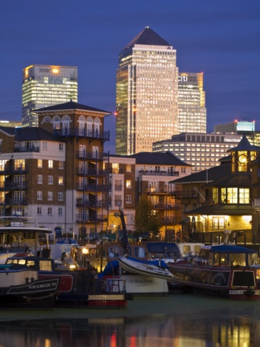 London, Tower Hamlets, Limehouse Basin with Canary Wharf buildings in background