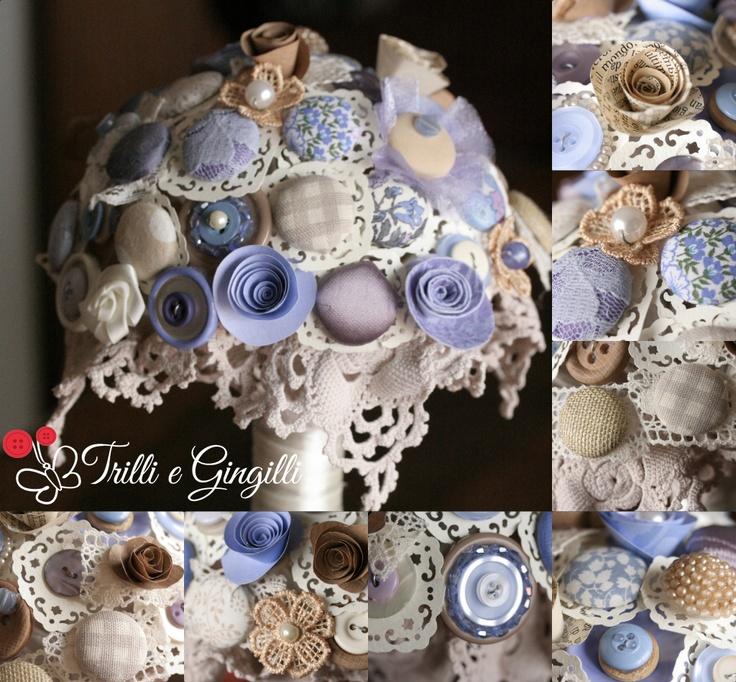 Bouquet color lavanda/avorio/ecru con dettagli in pizzo di cotone (info@trilliegingilli.com) Bouquet alternativi, originali, particolari by Trilli e Gingilli