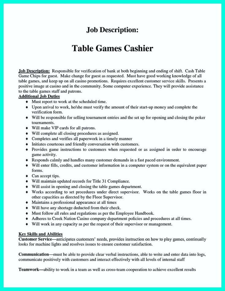 description of cashier for resumes