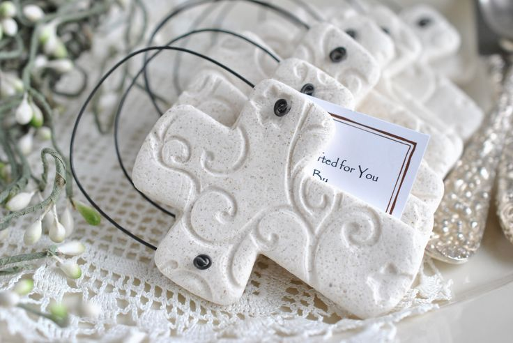 Imprinted Salt Dough Cross Ornament Wholesale Baptism / Wedding Favors Set of 10 Simple and elegant! This is an updated, more sophisticated version of the Chunky Cross! ***These crosses are not person