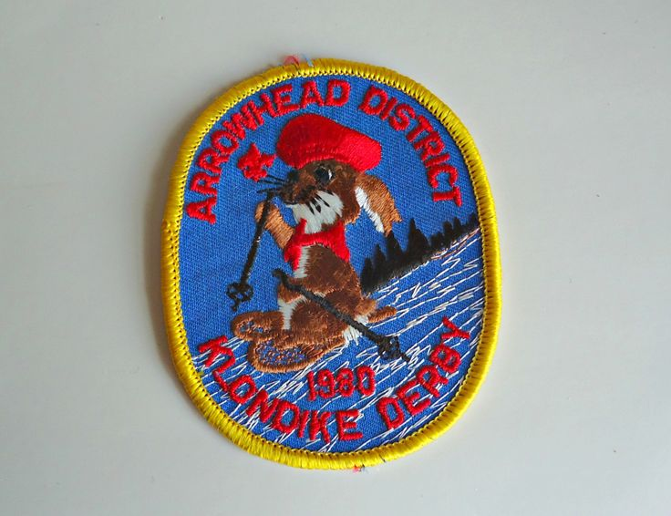 Vintage Boy Scouts Patch Arrowhead District Klondike Derby Embroidered Badge 1980 by treasurecoveally on Etsy