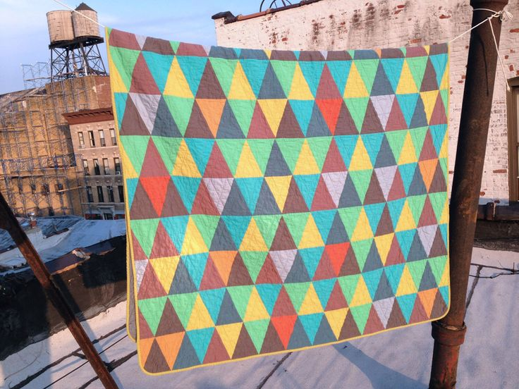 Twin quilt: Julian Price quilt  | red blue purple yellow green triangles improv modern quilt by zakfostershop on Etsy https://www.etsy.com/listing/171670878/twin-quilt-julian-price-quilt-red-blue
