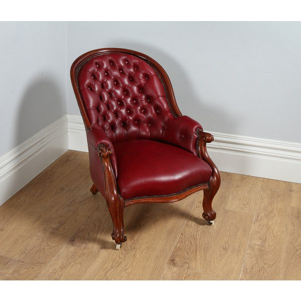 Antique English Victorian Mahogany Gentlemen's Red Leather Reading... ($2,870) ❤ liked on Polyvore featuring home, furniture, chairs, accent chairs, red leather chair, red chair, leather chair, outside chairs and leather accent chairs