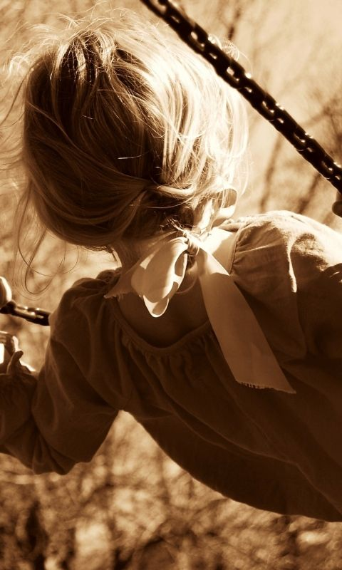 480x800 Wallpaper girl, child, swing, sepia