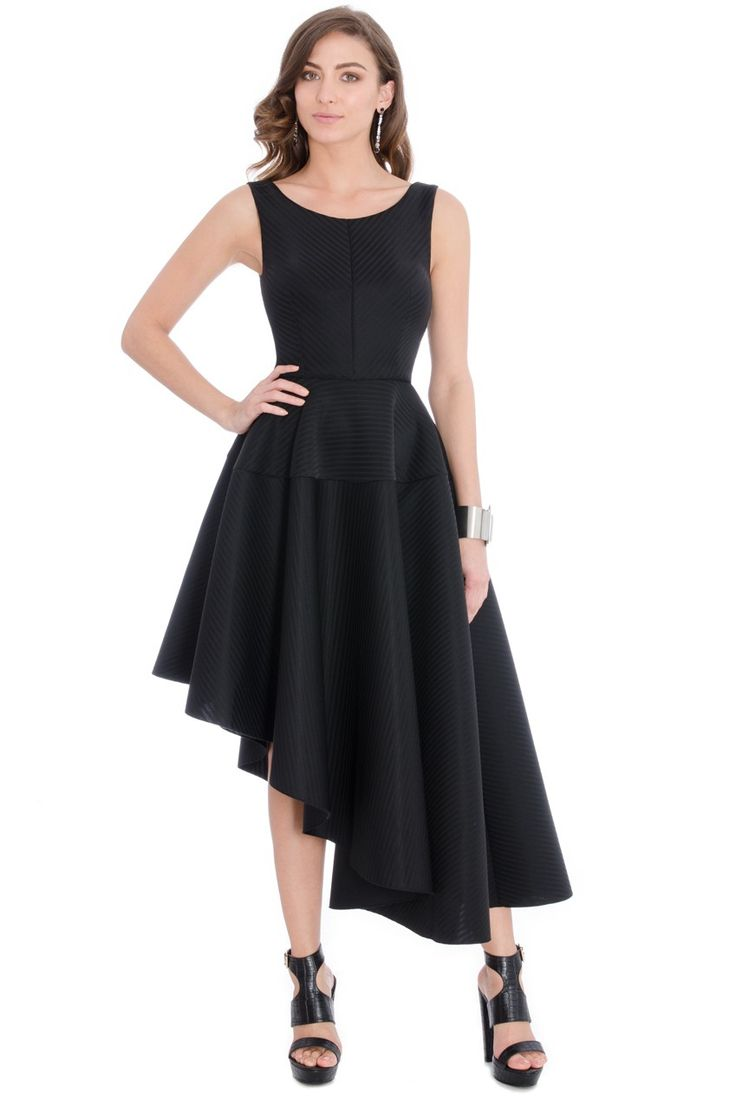 Asymmetric Textured Midi Dress - Black - Front - DR488