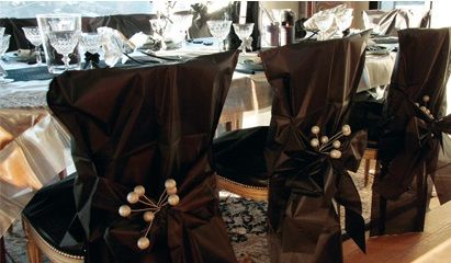 Striking black and silver chair covers - great for birthday parties, formal corporate entertaining, wedding receptions