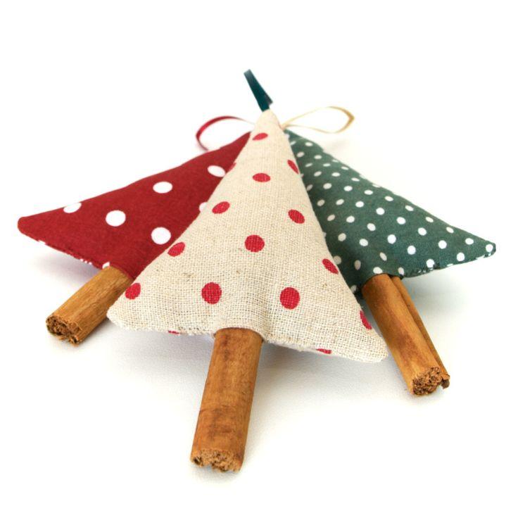 Woodland Christmas Tree Ornaments Rustic Polka Dot Linen Cinnamon Christmas…