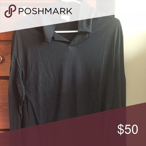 Mens Long Sleeve Collared Black Armani shirt Light weight and breathable. Great condition Armani Collezioni Tops Tees - Long Sleeve