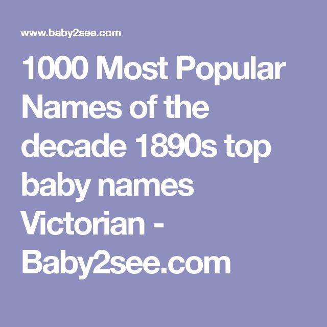 1000 Most Popular Names Of The Decade 1890s Top Baby Victorian