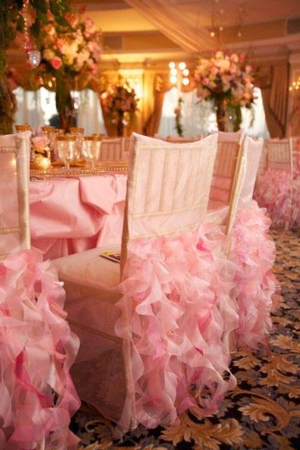 Love!: Pink Wedding, Pink Ruffles, Wedding Receptions, Wedding Trends, Color, Pink Chairs, Wedding Chairs Covers, Parties Ideas, Ruffles Chairs