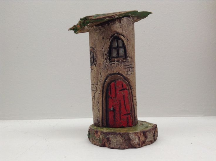 175 -little wooden fairy / pixie house, made from recycled branch cut offs, red door, green roof. Greytimberwolfcrafts by Greytimberwolfcrafts on Etsy