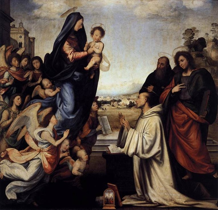 Explore this interactive image: Fra Bartolommeo, Vision of St. Bernard, 1507 by Sharon