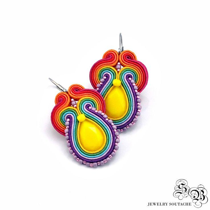 Colorful Soutache Earrings, Soutache Earrings, Handmade Earrings, Colorful…