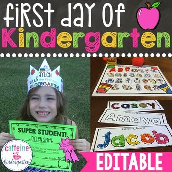 First Day of Kindergarten - Writing Activity and AwardsA FULL FIRST DAY OF KINDERGARTEN IN ONE UNIT!Have fun and make memories while introducing you new kindergartners to school! This first day of kindergarten packet includes lesson plans for the entire day, all printables to accompany the lesson plans, rituals and routines suggestions and checklist, a decodable reader/writing activity keepsake, awards ribbons, an editable first day of school crown hat, and an editable first day of school…