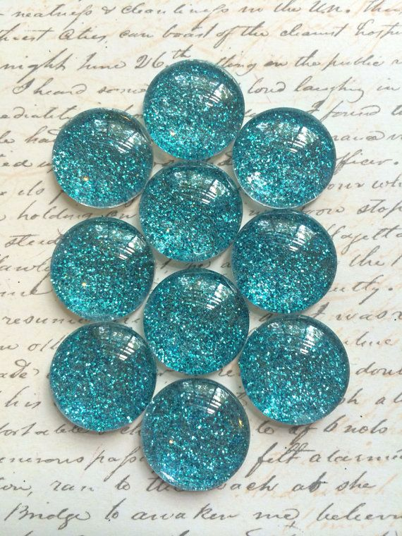$10.50 IN STOCK!  Use Coupon Code PIN10 10 Teal Push Pins  Glass Push Pins  Office Push by TheVelvetVine #thevelvetvine #christmaspushpins