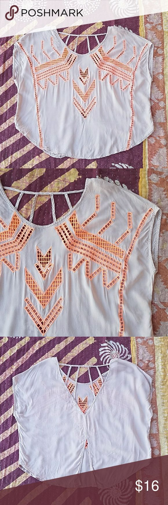 Lush Laser Cut Embroidery Oversized Open Back Top Casual and cool Beige cotton with neon orange embroidery down the front Strappy back with open vent at hem Has an oversized silhouette to it Made by Urban Outfitters brand Lush size small In good condition Tops Blouses