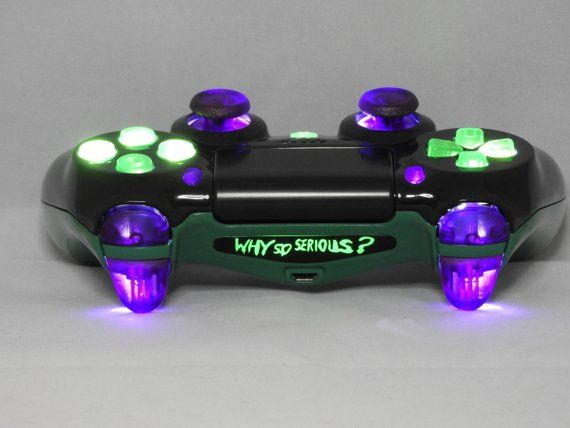 Ps4 Custom Controller Gamepad Joker Why So Serious Led Mod Etsy Custom Xbox One Controller Ps4 Game Console Gamer Gear