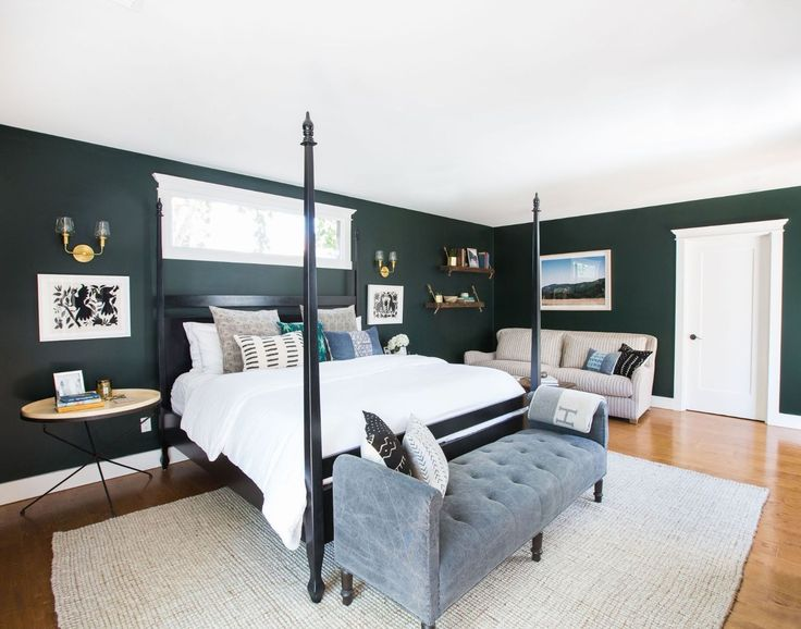 Paint Your Bedroom To Sleep Better - ELLEDecor.com | Dark Green Traditional Bedroom with Four Poster Bed