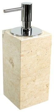 Beige Marble Soap Dispenser transitional-bath-and-spa-accessories
